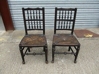 Antique Pair of Oak 19th Century Dining Chairs Spindle Back Rush Seats Farmhouse
