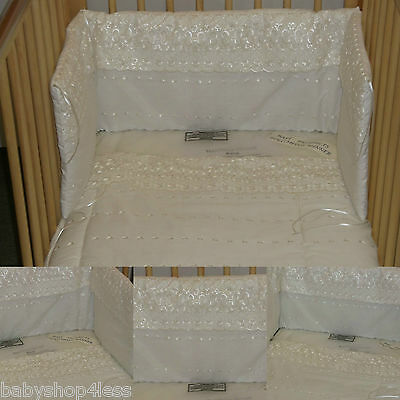 Baby Cot Quilt And Bumper Bedding White B.a Border Girls/boys Cotton Mix New