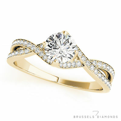 0.82 Ct Natural Twist DIAMOND Engagement Ring Round H/VS2 Solid 14K Yellow Gold