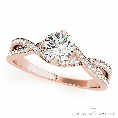 0.82 Ct H/VS2 Natural Twist DIAMOND Engagement Ring Round Solid 14K Rose Gold
