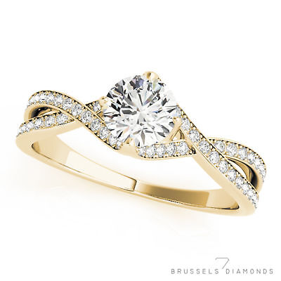 0.82 Ct F/SI1 Natural Twist DIAMOND Engagement Ring Round Solid 14K Yellow Gold