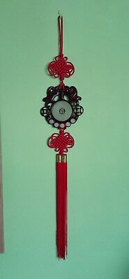 """Vintage Chinese Oriental Lucky Red Knot Tassle Wall Hanging Large 33"""""""