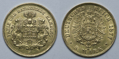 5 Mark Gold Hamburg 1877  Orginal Top Erhaltungen