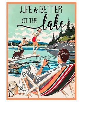 "LIFE IS BETTER AT THE LAKE 2"" x 3"" Fridge MAGNET VINTAGE ART LAKELIFE"