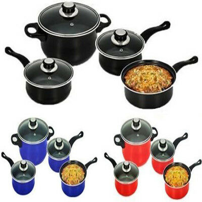 7PC Carbon steel Nonstick Cookware Set Kitchen Pots and Pans set With Glass Lids