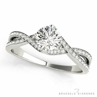 0.82 Ct Natural Twist DIAMOND Engagement Ring Round H/VS2 Solid 14K White Gold