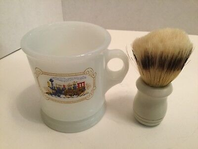 Vintage Avon Milk Glass Locomotive Train Shaving Mug w/ Brush
