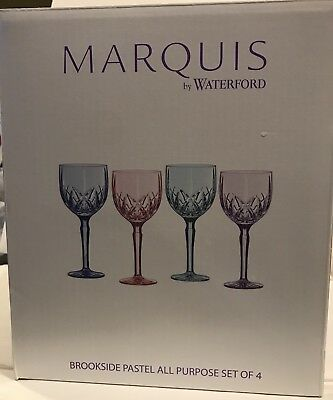 Marquis by Waterford Brookside Pastels All Purpose Goblets/Glasses Set Of 4 $125