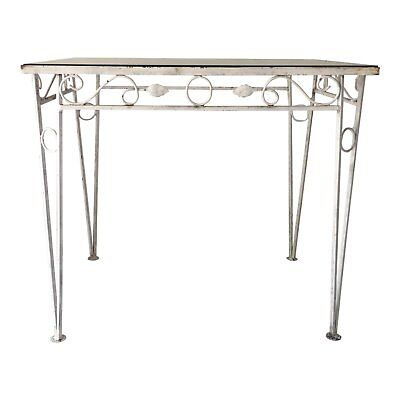 Vintage Wrought Iron Glass Top Outdoor Table