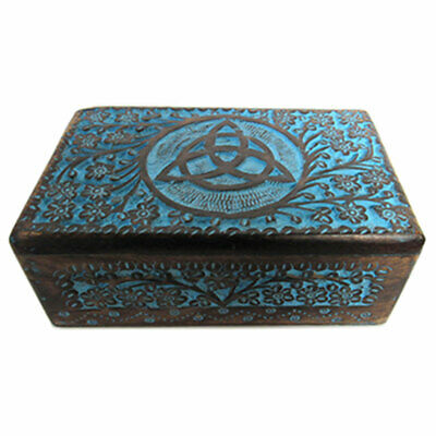 "NEW Blue Painted Triquetra Carved Wooden Box 5x8"" Wood Celtic Knot Chest"