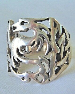 17mm Wide.925 Sterling Silver Dragon Ring, Size 7  -  SHIPS FREE