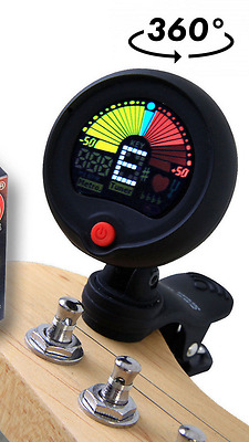 Black Eno Emt300 Chromatic Headstock Tuner For Guitar, Bass, Uke, Banjo & More!