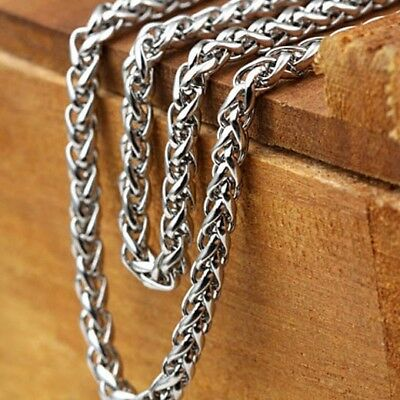 """Men's/Women's Rope Necklace Stainless Steel 24""""Chain 4MM Unique Link Jewelry"""