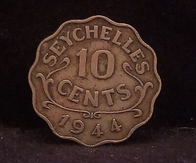 1944 British Seychelles 10 cents, scarce 3-year type, 36,000 minted, KM-1