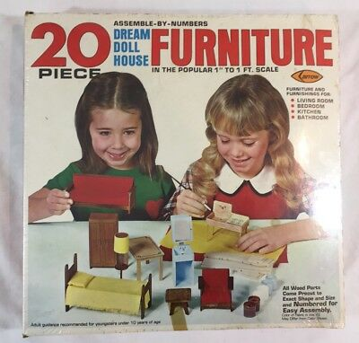 Vintage 1978 NOS Arrow Dream Doll House 20 Pc Wood Furniture Scale # 6971 SEALED