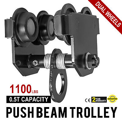 0.5 Ton Push Beam Track Roller Trolley I-Beam Track Solid Steel Heavy Loads