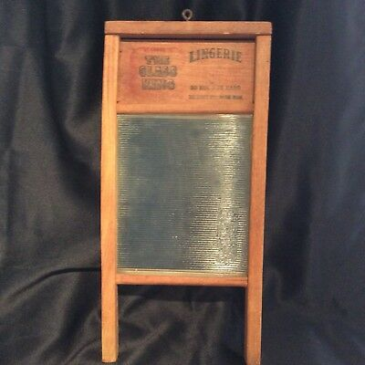 Antique National Lingerie Washboard Wood & Glass Vintage Decor 18""