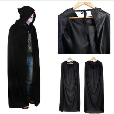 Unisex Adult Men Women Hooded Cape Long Cloak Black Halloween Costume Dress Coat