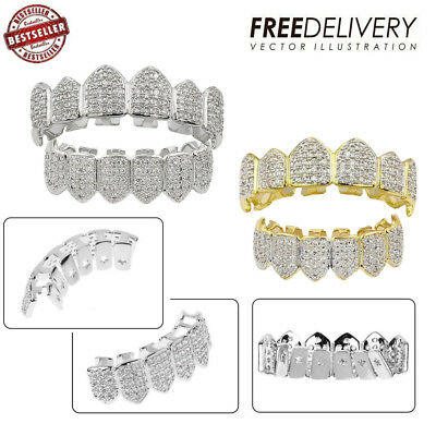 18K Gold/Silver Plated Top Bottom GRILLZ Mouth Teeth Grill Set Bling Diamonds