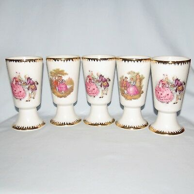 Limoges Style Veritable Porcelaine Lot Of 5 Courting Scene Cups