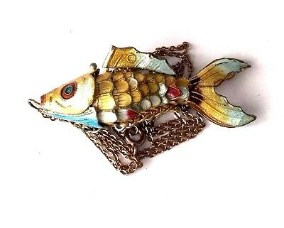 Vintage Chinese Export GF Sterling Silver and Enamel Articulated Fish