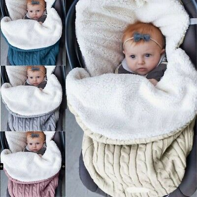 Newborn Baby Knit Crochet Swaddle Wrap Swaddling Blanket Soft Warm Sleeping Bag