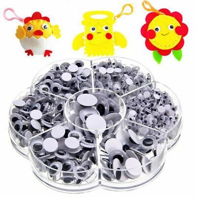 700pcs Plastic Round Wiggly Googly Eyes Self-adhesive 4/5/6/7/8/10/12mm For Doll