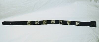 Vintage Leather Brighton Handcrafted Belt 1992 Silver buckle/concho's 32""