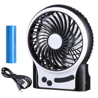 Mini Fan Handheld USB Rechargeable Travel Cooler Cooling Air Portable with Light