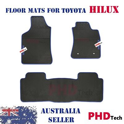 All Weather Rubber Car Floor Mats for Toyota HILUX Dual Cab 2005-15 Blue Version