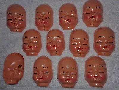"""12 approx 3.5X4.5/"""" NEW Vintage Doll Smile Face Head Hallow Baby Open blue Eyes"""