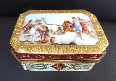Beautiful 19th C Hand Painted Royal Vienna Style Porcelain Box - For Restoration