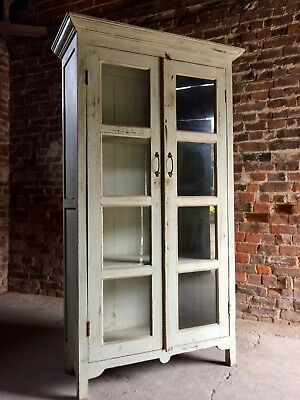 Stunning French Bookcase Display Cabinet Vitrine Antique Painted Distressed