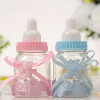 12/24X Fillable Bottles Candy Box Baby Shower Baptism Party Christening UK Stock