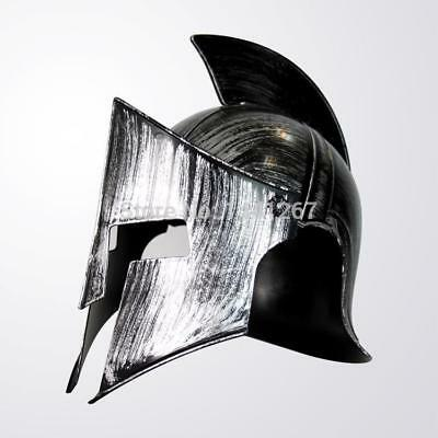 Ancient Rome Warrior Plastic Silvery Spartan Helmet For Halloween Cosplay Props