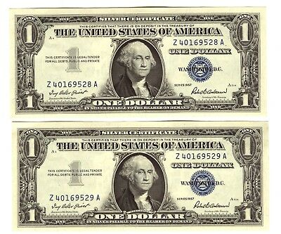 1957 One Dollar $1 Silver Certificate Gem Unc. Lot Of 2 Consecutive Serial Bills