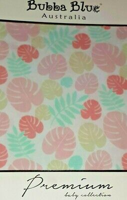 BUBBA BLUE Island baby COT FITTED SHEET only BNIB pink leaves tropical girl
