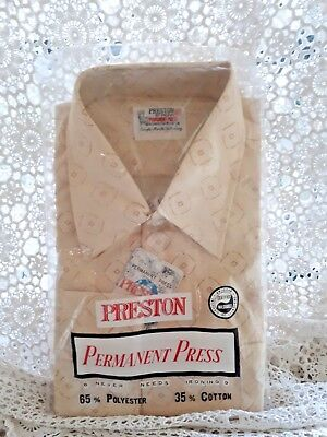 Vintage / Retro Mens Long Sleeve Shirt. New In Pack. Brown/Ivory
