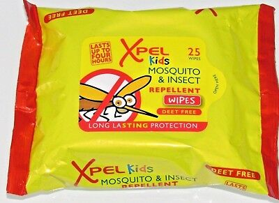 3 x 25 Xpel Kids Mosquito/Insect Repellent Wipes Long Lasting Holiday DEET FREE