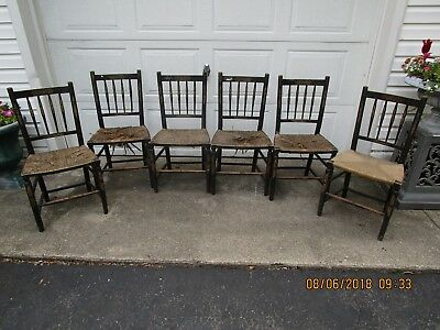 Set Six (6) American New England Side Chairs Ca 1830 Orig. Paint Wear Surfaces