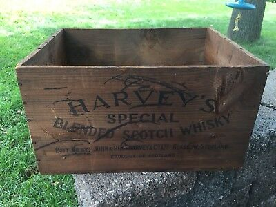 Vintage Antique Harvey's Special Blended Scotch Whiskey Wooden Crate Box Newark