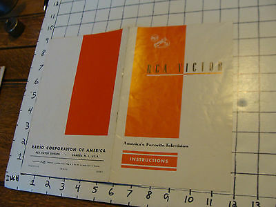 vintage paper:early RCA VICTOR TELEVISION instructions, 8pgs, undated but early