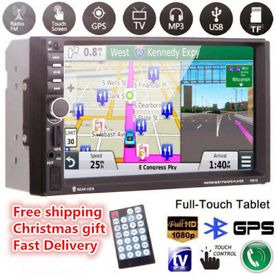 "7"" HD 2 DIN Car Stereo FM Radio MP5 Player LCDTouch screen TF USB w/GPS + Camera"