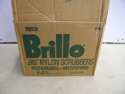 New Case Box Lot of 60 Brillo Industrial BIG Nylon Scrubbers Restaurants Schools