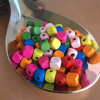 100X Multi-Colour Rainbow Cube Beads Dyed 8MM Wooden Bead for Beading