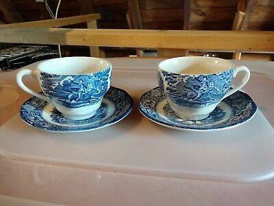 Lot of 2 Vintage Staffordshire Liberty Blue cup and saucer
