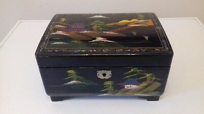 Japanese Black Lacquer Handpainted Mother Of Pearl Musical Jewellery Trinket Box