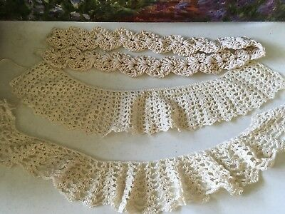 3 different handmade vintage crochet collars lace doilie doily doiley reduced