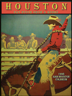 Houston Fat Stock Show & Rodeo 1938 VINTAGE RODEO POSTER