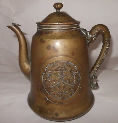 Heavy 19th Century Japanese Bronze Teapot with Dragon Handle and Mon Decoration